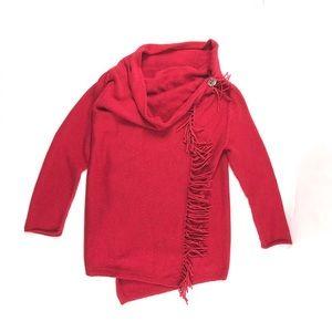 Soft Surroundings Red Sweater Fringe Medium